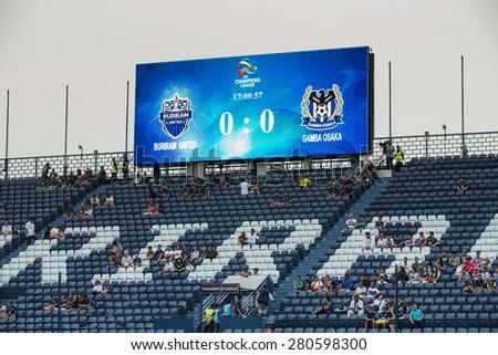 BURIRAM,THAILAND-APRIL 07:Views unidentified fan Buriram UTD. supporters  during The AFC Champions League 2015 between Buriram UTD.and Gamba Osaka at I-mobile Stadium on Apr 07,2015 in Thailand - stock photo
