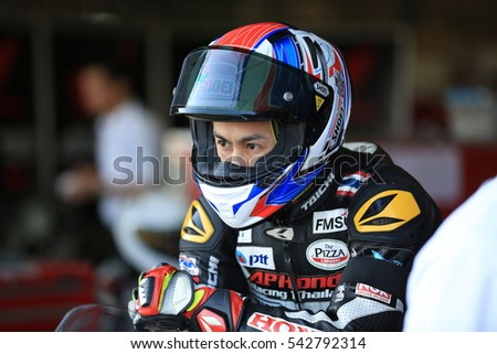 BURIRAM,THAILAND-DECEMBER 3: Vorapong Malahuani of Honda Racing Thailand prepare to rides during practice2 at ASIA ROAD RACING CHAMPIONSHIP at Chang International Circuit on DECEMBER 3,2016 inThailand