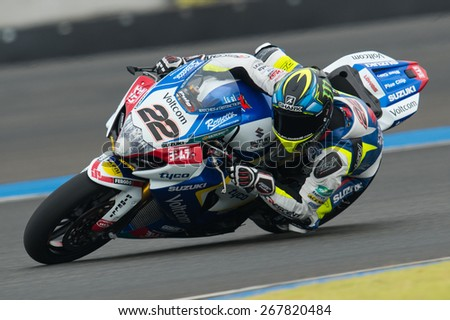BURIRAM,THAILAND-MARCH21:Alex Lowes of Great Britain TeamVOLTCOM CRESCENT SUZUKI rides during Superpole2 at the World Superbike Championship..at Chang International Circuit on March21,2015 inThailand. - stock photo