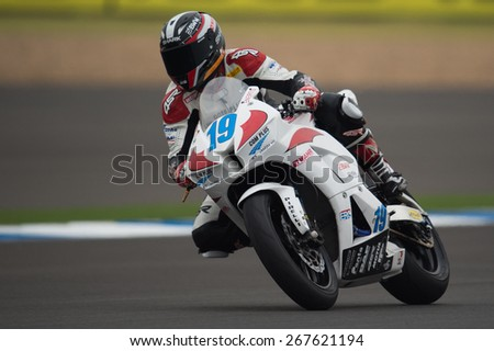 BURIRAM,THAILAND-MARCH21:Kevin Wahr no.19 of  SMS Racing Team rides during Qualifying at the Supersport World Championship.at Chang International Circuit on March21,2015 in Thailand.