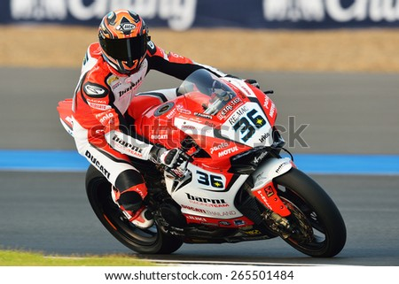 BURIRAM,THAILAND-MARCH 20:Leandro Mercado of Argentina BARNI Racing Team rides during free practice2 at the World Superbike Championship at Chang International Circuit on March20,2015 in Thailand. - stock photo