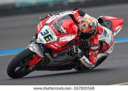 BURIRAM,THAILAND-MARCH21:Leandro Mercado of Argentina BARNI Racing Team rides during Superpole 2 at the World Superbike Championship.at Chang International Circuit on March21,2015 in Thailand. - stock photo