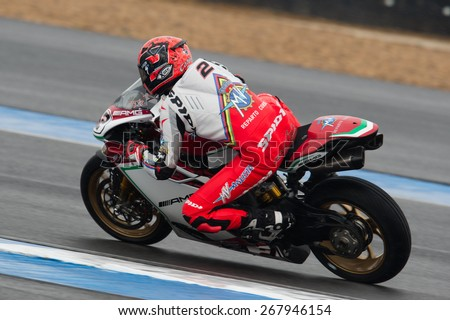 BURIRAM,THAILAND-MARCH21:Leon Camier no.2 of MV Agusta Reparto Cores Team rides during Superpole 2 at the World Superbike Championship.at Chang International Circuit on March21,2015 in Thailand - stock photo