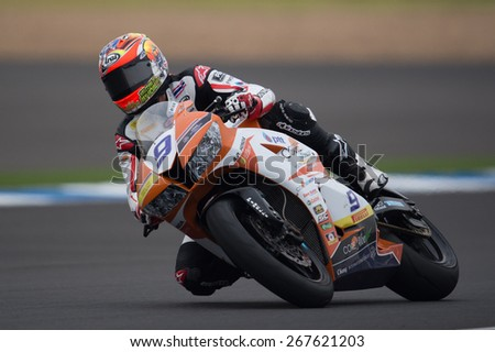 BURIRAM,THAILAND-MARCH21:Ratthapark Wilairot of Core Motorsport Thailand Team rides during Qualifying at the Supersport World Championship.at Chang International Circuit on March21,2015 in Thailand.