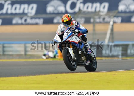 BURIRAM,THAILAND-MARCH 20:Sylvain Barrier of BMW Motorrad Italia Superbike Team rides during practice 2 at the World Superbike Championship at Chang International Circuit on March20,2015 in Thailand. - stock photo