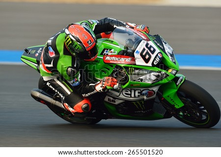 BURIRAM,THAILAND-MARCH 20:Tom Sykes of Great Britain Kawasaki Racing Team  rides during free practice2 at the World Superbike Championship at Chang International Circuit on March20,2015 in Thailand. - stock photo