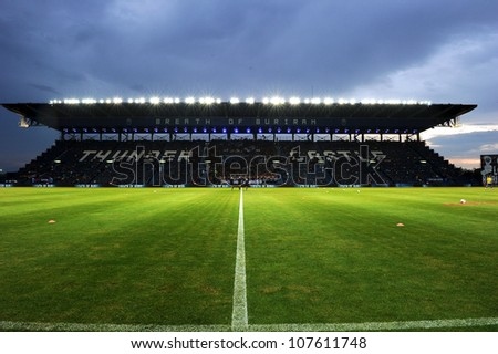 BURIRAM,THAILAND-MAY30:View of  I-mobile Stadium during Thai Premier League between between BuriramUTD.and SCG Muangthong UTD.at I-mobile Stadium on May 30,2012 in Buriram, Thailand - stock photo