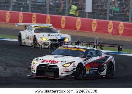 BURIRAM THAILAND-OCTOBER 5:Lucas Ordonez NDDP Racing Team drives during the Autobacs Super GT Round7 Burirum United Super GT Race at Chang International Circuit,on Oct 05,2014 in,Thailand - stock photo