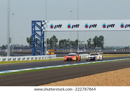 Buriram THAILAND - October 5: Super GT race car, which was first held in Thailand at Chang International Circuit in Buriram United, on October 5, 2014 in Buriram, Thailand