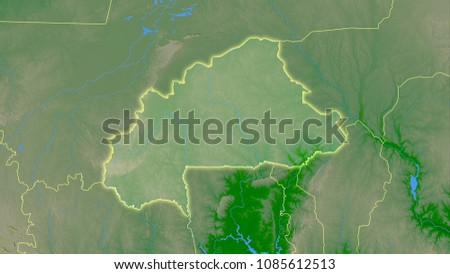 Burkina Faso Area On Topographic Physical Stock Illustration