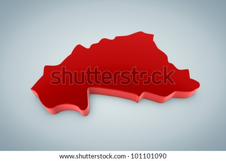 Burkina Faso Map - stock photo