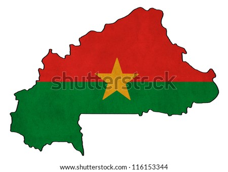 Burkina Faso map on Burkina Faso flag drawing ,grunge and retro flag series