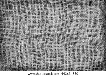 Burlap Background. Natural textured canvas, black and white tone. - stock photo