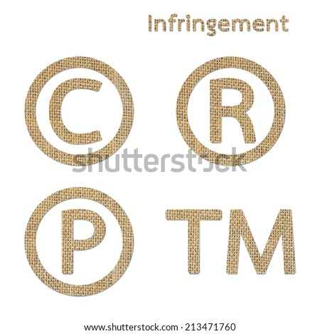 burlap copyright trademark and registered symbol isolated on white background - stock photo
