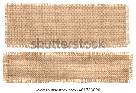 Burlap Fabric Patch Piece, Rustic Hessian Sack Cloth, Isolated Torn Pieces