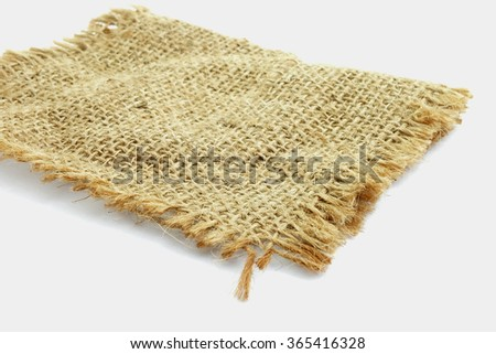 burlap hessian sacking on white background
