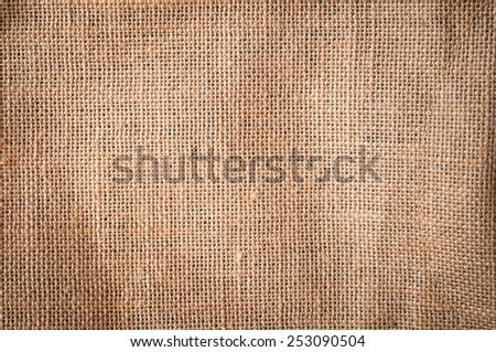 Burlap or sacking detail background texture. - stock photo