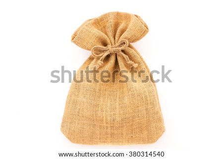 Burlap sack bag the bow tied isolated on white background - stock photo