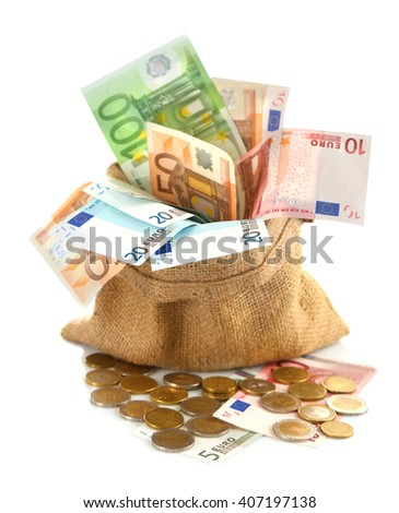 Burlap sack filled with euro banknotes and coins, isolated on white - stock photo