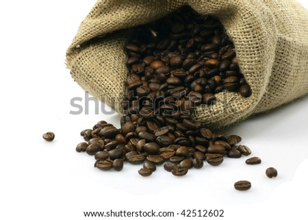 burlap sack with coffee beans on a white background