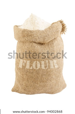 Burlap sack with flour isolated on white - stock photo