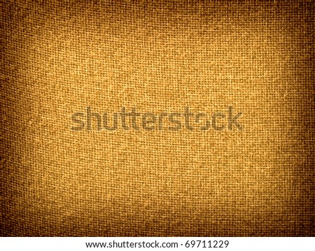 Burlap Tan Grunge Texture Background with Framed Copyspace - stock photo
