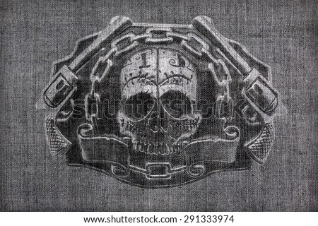 burlap texture with a picture of the skull and chain guns - stock photo