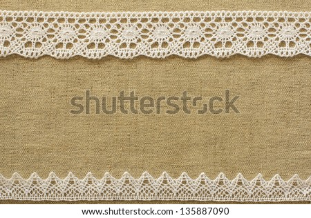 Burlap with lace - stock photo