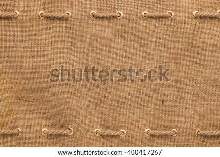 Burlap with two lines of rope