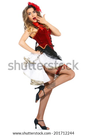 Burlesque. Cute, beautiful woman on a white background - stock photo