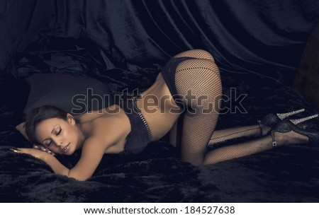 Burlesque dancer - stock photo