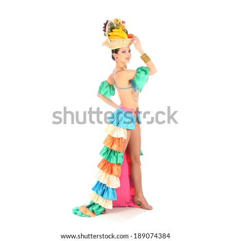 Burlesque dancer with rainbow dress and fruits hat, isolated on white