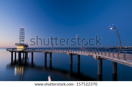 Burlington's newly constructed pier in the pre dawn hours - stock photo