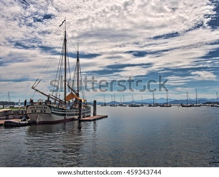 Burlington, Vermont, USA. July 24,2016. View of the Burlington, Vermont docks on Lake Champlain with tall ships and recreational boats