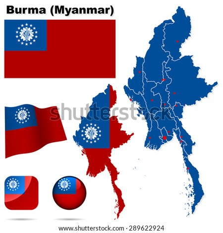 Burma (Myanmar) set. Detailed country shape with region borders, flags and icons isolated on white background. - stock photo
