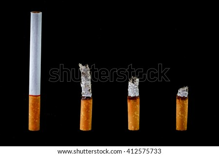 burn cigarette set,Isolate on black background and copy space.