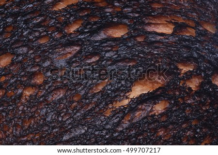 Burn Toast Bread Texture Close Up