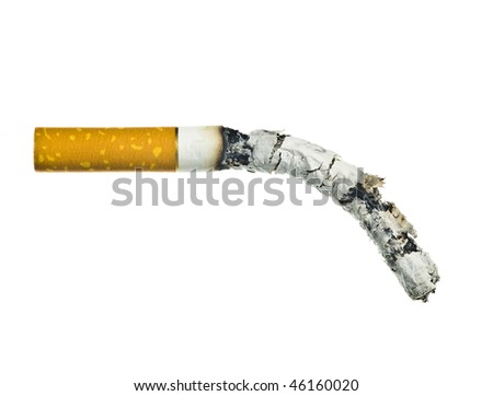 burned a cigarette on a white background