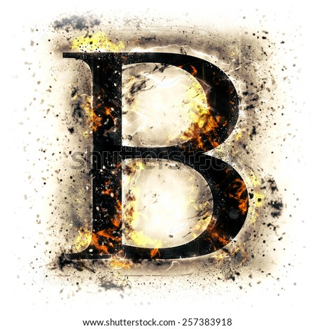 Burned alphabet. Letter B. - stock photo