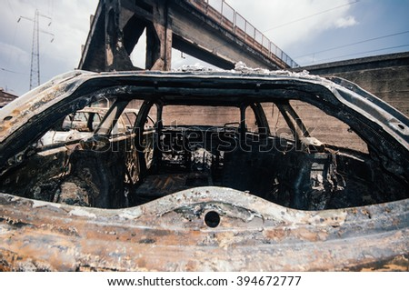Burned car after a fire happened in Viareggio, italy when a train full of LPHG exploded while passing the train station