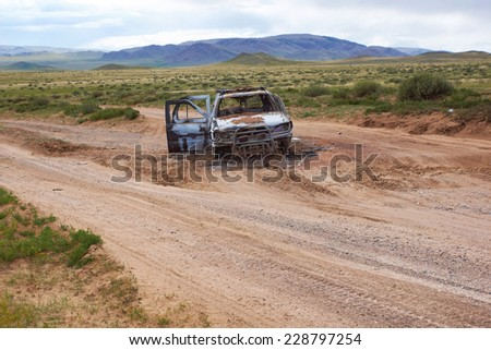 Burned car on the steppe road - stock photo