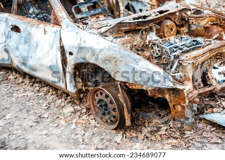 Burned car wheel