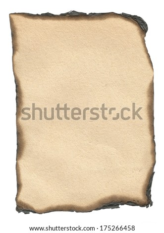 Burned edge paper isolated on white paper