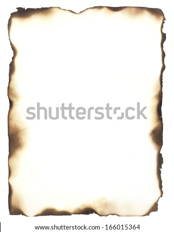 Burned edges isolated on white. Use as a frame or composite with any sheet of paper to give it the appearance of burned edges. - stock photo