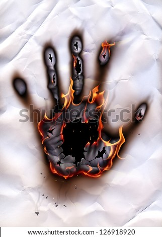 Burned handprint - stock photo