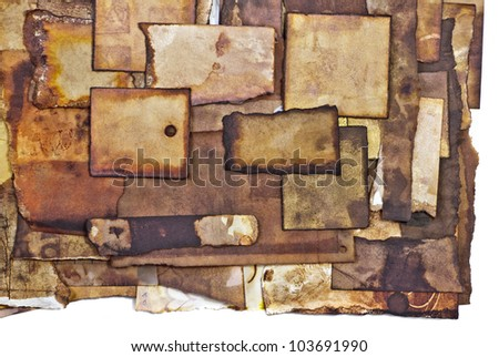 burned paper theme - grunge weathered paper labels /blank space - stock photo