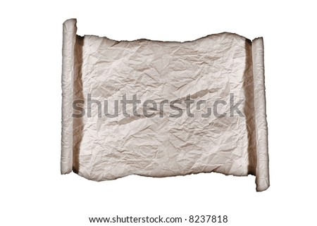 Burned Roll of Parchment Paper Textured Background