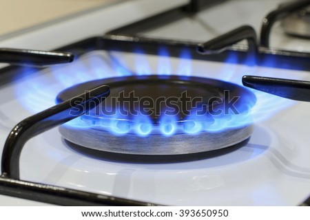 burner flame energy natural gas kitchen stove - stock photo