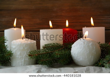 burning advent candles and green spruce, object - stock photo