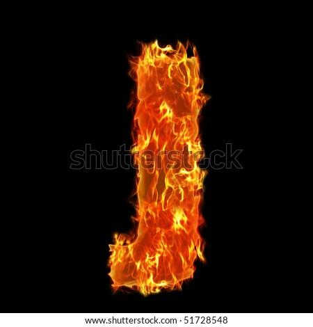 Burning Alphabet Letter J - stock photo
